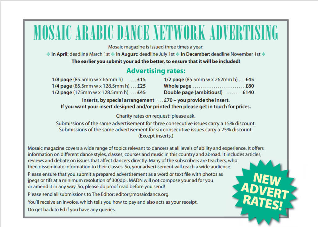 Advertise with Mosaic Arabci dance Network rates for the Magazine.